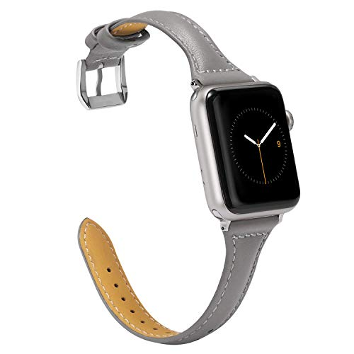 Wearlizer für Apple Watch 38mm Armband Leder, Echtleder iWatch Straps Ersatz Lederarmband 38mm 40mm für Apple Watch Series 4 3 2 1 - Grau