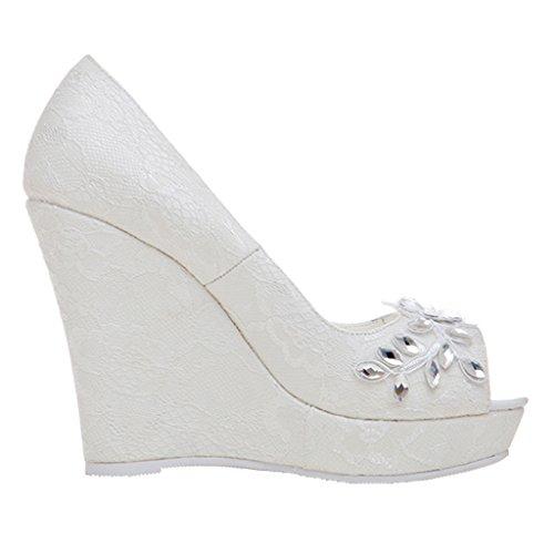 ENMAYER Femmes Dentelle Solid Color Sexy Stiletto Super Talons hauts Wedges Talon Slip on Party Dress pieds peu profondes Peep Toe Court Shoes Blanc