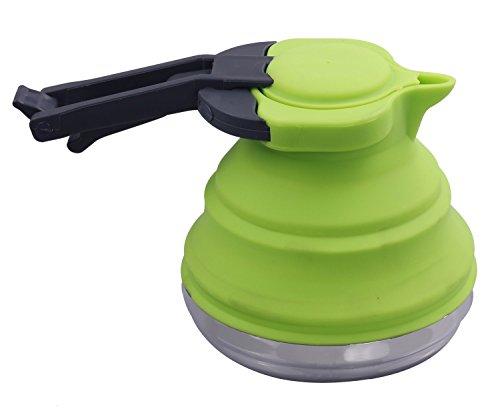 bewegliches Silikon-zusammenklappbares 1.2L Wasserkocher for Tee-Kaffee im Freien kampierender Rucksack-Spielraum faltbarer Kessel (Grün) (Gas-herd-kaffee-topf)