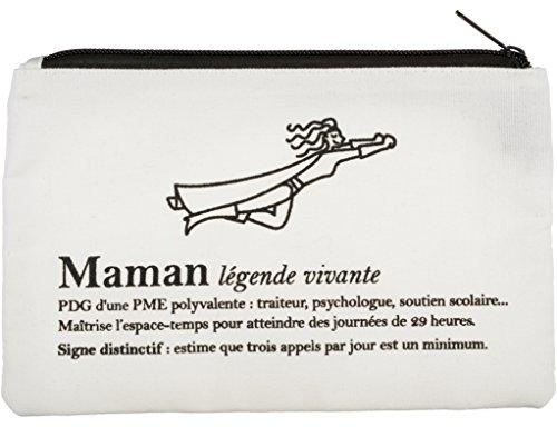 La Chaise Longue 37-1F-224 Trousse à Maquillage Définition Maman Blanche Fermeture Zip Coton