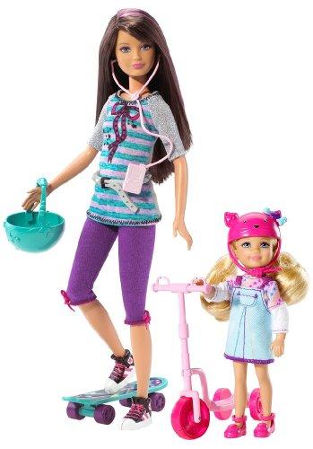 Barbie-t7429-Puppe Ankleidepuppe-Skipper und Chelsea MDRS und Skate