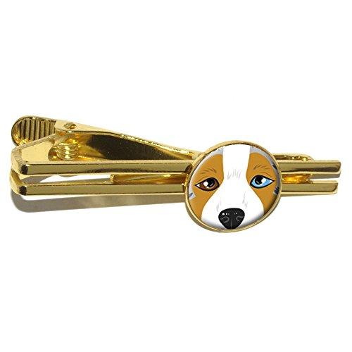 Australian Shepherd Gesicht–Aussie Dog rund Tie Bar Clip Verschluss Tack–Gold