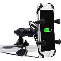 Samoleus Universal bicicleta motocicleta montar soporte USB cargador de teléfono celular para iPhone, GPS, Sony y otros teléfonos con 3.5-6 pulgadas pantalla (Motorcycle X-Grip Holder)