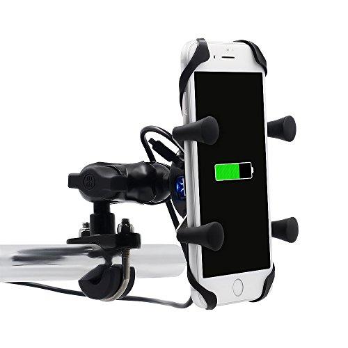 Universal Bicicleta Motocicleta Montar Soporte - USB Cargador de Teléfono Celular para...