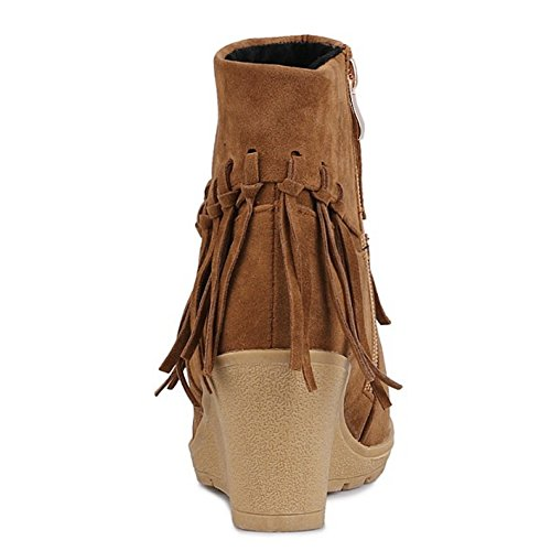 Femmes Bottines TAOFFEN Fermeture Eclair brown Bottes Compense Talon Indienne fPn41Fq