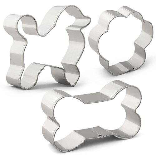 KENIAO Ausstechformen Set für Hundefutter Plätzchen Ausstecher - 3PCS - Hund, Hundeknochen und Hund Pfotenabdruck - Edelstahl