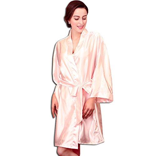 KAXIDY Damen Kimono Morgenmantel Satin Nachtwäsche Seidenrobe Schlafanzug Nachthemd Bademantel Rosa