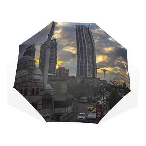 LAZEN mit schwarzen Anti-UV-Beschichtung Sonnenschirm kompakte Falten Winddicht Reisestadt im Sonnenuntergang - Terrasse Sonnenuntergang