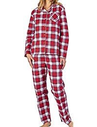 be5c006a50 Slenderella Ladies Luxury Check Print 100% Soft Cotton Flannel 3 Button  Long Sleeve   Trouser Pyjamas Size Small…