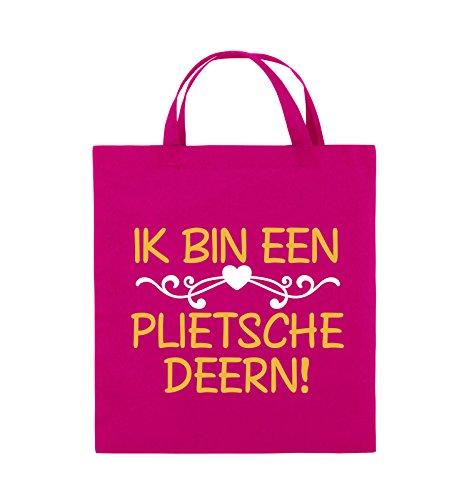 Comedy Bags - IK BIN EEN PLIETSCHE DEERN! - Jutebeutel - kurze Henkel - 38x42cm - Farbe: Schwarz / Weiss-Neongrün Pink / Gelb-Weiss