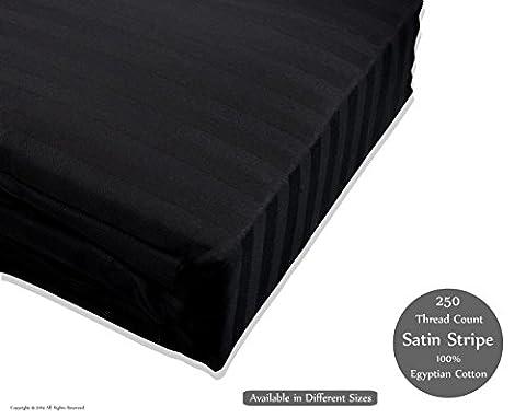 250fils Luxe satiné à rayures 100% coton égyptien Drap-housse, drap plat, avec housse de couette Taie d'oreiller, noir, Single-Fittedsheet
