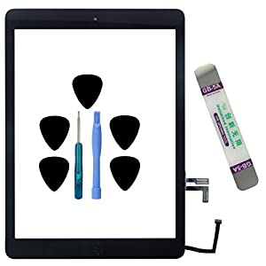 Reparatur-Set iPad Air schwarz Touchscreen schwarz zusammengebaut + Home-Button + Kleber + Werkzeug