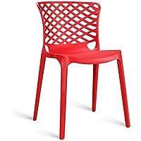 CKH Silla de Respaldo Moderno Restaurante Minimalista Silla de Comedor de plástico Respaldo Adulto Taburete Creativo Silla de Ocio Rojo