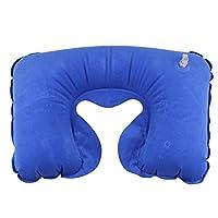 LHWY Air Inflatable Pillow U shape Neck Rest Travel Plane Train office (U type, blue)