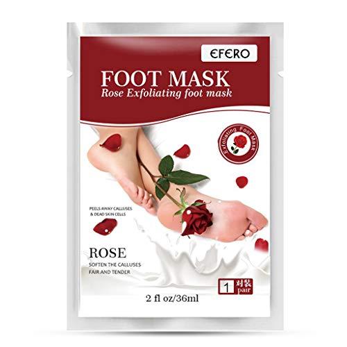 KUKICAT 2er Rose Fußmaske zur Hornhaut Entfernung - Anti Hornhaut Socken als Fuß Peeling Maske - Fussmaske Top Ergebnisse in 3-7 Tagen - Fußpeeling Maske für Hornhautentfernung Foot Mask
