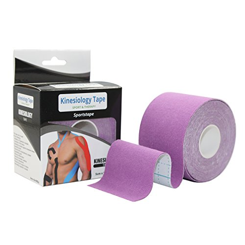 STpro Elastische Wasser Verband Physio Therapeutische Hilfe Therapie Kinesiologie Tape physiotherapy 5cm x 450cm ungeschnittenes Therapeutic Tape Fuer Arme, Haende & Finger Erste Hilfe Tape,Purpur,1 Rolle