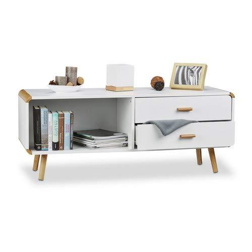 Relaxdays Commode Lowboard coins arrondis en blanc meuble TV buffet avec tiroirs HxlxP: 48 x 120 x 40 cm, blanc