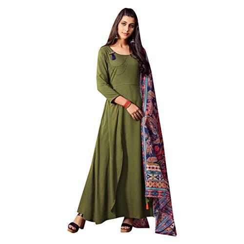 Olive Green Designer Ready to wear Abendkleid Kleid mit Multicolor Dupatta Indian Party tragen Lange Kurta 7519 Olive Green Silk Saree
