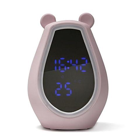 LikeIt Kreative Tischlampe Bär-Form Netter Kosmetikspiegel-Schreibtischlampe für Mädchen / Frauen mit Smart Bluetooth Lautsprecher Wecker für Schlafzimmer Bettseiten, rosa