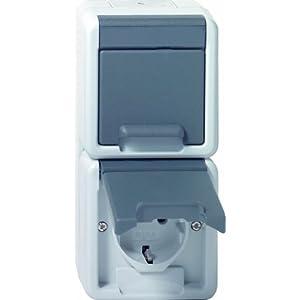 Gira 078030 Doppel Schuko senkrecht Wassergeschützt Aufputz, grau