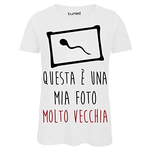 CHEMAGLIETTE! Shirt Divertente Donna Maglietta 100% Cotone con Stampa Simpatica Vecchia Foto Tuned Bianco