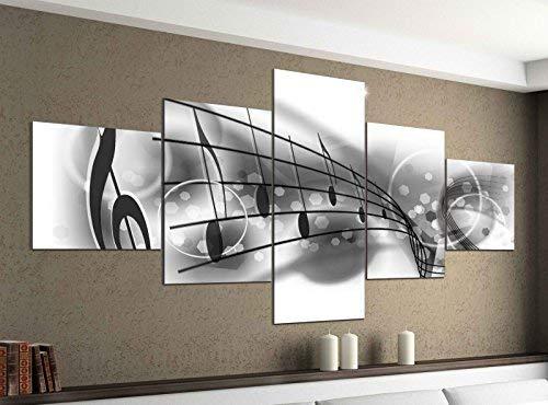 Leinwandbild 5 tlg. 200cmx100cm Musiknoten Noten Musik Schlüssel schwarz weiß Bilder Druck auf Leinwand Bild Kunstdruck mehrteilig Holz 9YA1382, 5Tlg 200x100cm:5Tlg 200x100cm (Leinwand Musik Bilder)