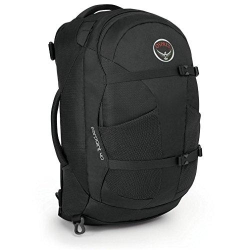 Gray Osprey Farpoint 40L mochila pequeña bolsa de viaje de equipo de paquete de un color, Negro, Talla Única