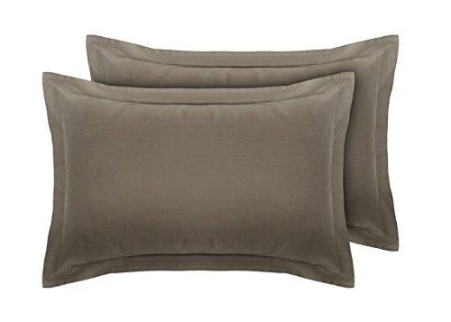 Coppia di federe oxford per guanciali in 100% percalle di cotone 180 fili grey