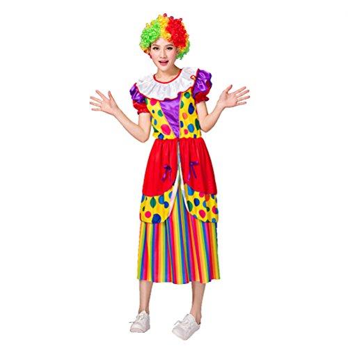 Tinksky Clown Kostüm Erwachsene Damen witzig Clownkostüm mit Hut für Party Halloween Weihnachten Karneval Familien Feier Größe 4XL