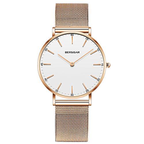 Bersigar Luxus Damenuhr – Analoge Uhr für Frauen – Wasserdichte Armbanduhr – Mädchenuhr mit Edelstahl-Bändern – Minimalistischer Stil mit reinem weißem Zifferblatt & goldenem Armband