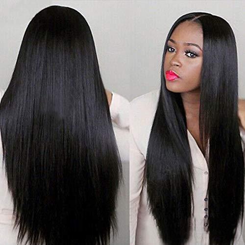 Gaddrt 80cm Frauen Lange brasilianische Schwarze gerade natürliche Perücke Haar Cosplay volle Perücken Kostüm Gerade Lange Perücke Falsche ()