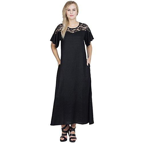 RADANYA Schwarze Spitze getrimmt Blütenblatt Ärmel eine Linie Nachtkleid Nachtwäsche für Frauen -