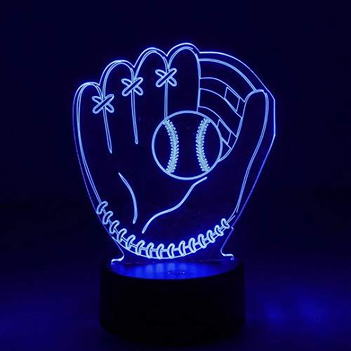 NUÜR 3D Nachtlicht mit optischer Täuschung - 7 LED-Farbwechsellampe mit Fernbedienung - Baseball-Form Design Einhorn-Batterieoption und USB-Kabeloption