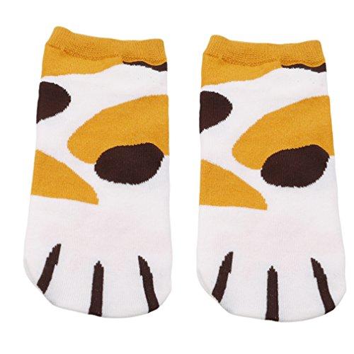 Muster Fußkettchen Socken (HYhy Kurze Knöchelsocken Frauen Mädchen Baumwolle Cute Cartoon Katzen Muster Kurze Knöchel Socken Fußkettchen passende Multi Style, gelbe Flecken)