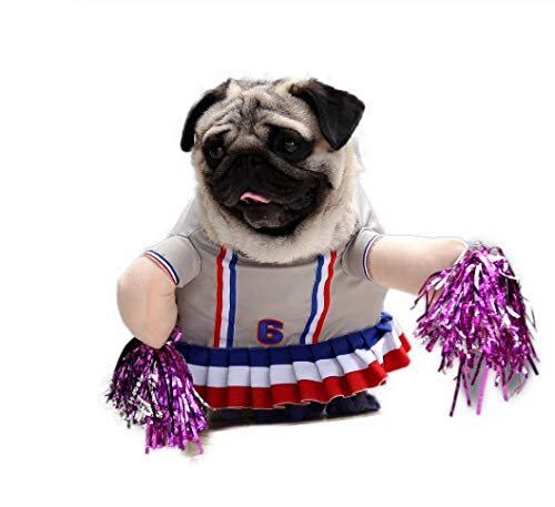 CHUANG TIANG Cheerleader-Katzen-Kostüme, Lustiger Cosplay-Anzug Für Die Haustier-Katzen-Kleidung, Die S-XL Kleidet,L (Cowboy Cheerleader Kostüm)