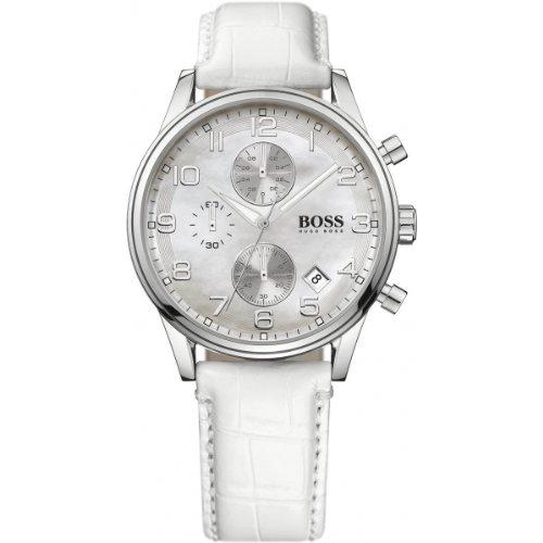 Hugo Boss 1502225 - Reloj analógico de cuarzo para mujer con correa de piel, color blanco