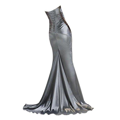 Bainjinbai Lang Damen Kristal Schulterfrei Meerjungnfrau Abendkleider BrautjungfernKleider Cocktail Party Kleider Grau