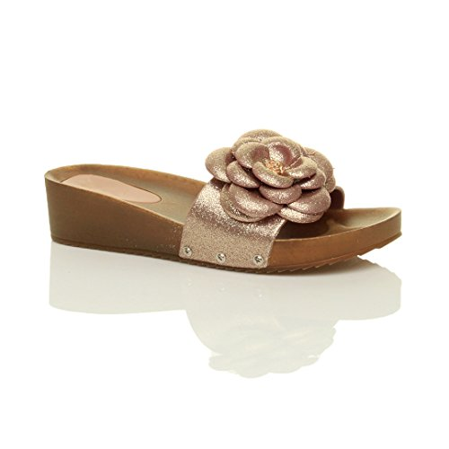Damen Mitte Keilabsatz Glitzern Blume Komfort Fußbett Pantoletten Sandalen Größe Gold Glitzer