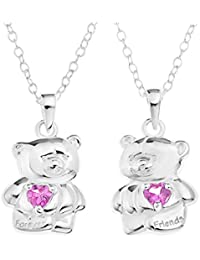 Forever Friends Bear Sterling Silver and Pink CZ Heart Pendants Set of 2 Split Friendship Pendants on 40cm Chain