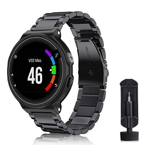 Fintie Armband kompatibel mit Garmin Forerunner 235/220 / 230/620 / 630 / 735XT Smart Watch - Uhrenarmband Edelstahl Metall Ersatzband, Schwarz