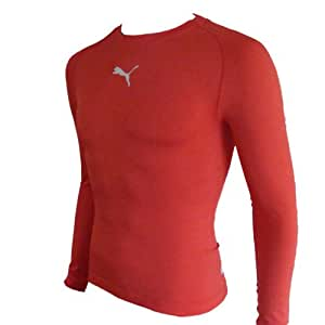 Puma Men's Long-Sleeved Shirt Tight-Fitting with Round Neck -  Red - Large