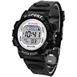 HOT, Waterproof Children Boys Digital LED Sports Watch Kids Alarm Date Watch Gift BK By YANG-YI
