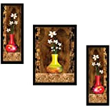 SAF Diwali Gift for Home UV Textured Flower Print Framed Art Print Painting Set of 3 for Home Decoration – Size 35 x 2 x 50 cm