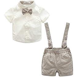 9ee0ed06a E.life Traje de bebé niño 2pcs caballero camiseta Top tirantes Strap Shorts  Bowtie formal