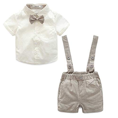 E.life Baby Jungen 2Pcs Gentleman Bowtie Hemd Top Hosenträger Strap Shorts Formal Kinder Party Outfit Kleidung Sets (80cm :6-12m, gold)
