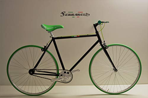 Cicli Ferrareis Bici Fixed Bicicletta Scatto Fisso Bike Single Speed Nero Verde 28 1v