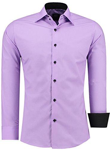 Jeel Herren Hemd Langarm Slim Fit / Figurbetont in schwarz, weiß,rot, gelb, blau uvm. Lilac/Schwarz