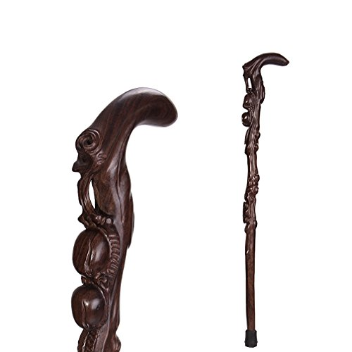 Holz Spazierstock Sticks Massivholz Old Wooden Stick Hochwertige Ebenholz Cane Cherry Hand-Carved, 88Cm,C (Spazierstock Aus Ebenholz)
