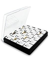 VENKON - 20 Fach Schaukasten mit Transparentem Deckel für Aufbewahrung & Präsentation von Fingerringen - ca. 21 x 18 x 5,5 cm