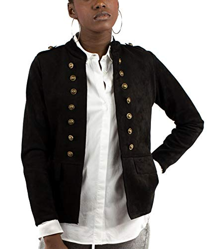 Mer's Style - Chaqueta Cazadora Militar de Ante, Negro Talla S-38 Mujer